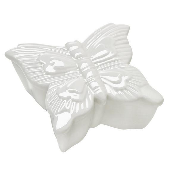 Doboz Butterfly - Fehér, Kerámia (7,5/4,5/7,5cm) - Mömax modern living
