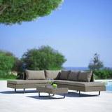 Loungegarnitur Martha in dunkelgrau inkl.Tisch - Dunkelgrau/Schwarz, MODERN, Glas/Kunststoff - Bessagi Garden