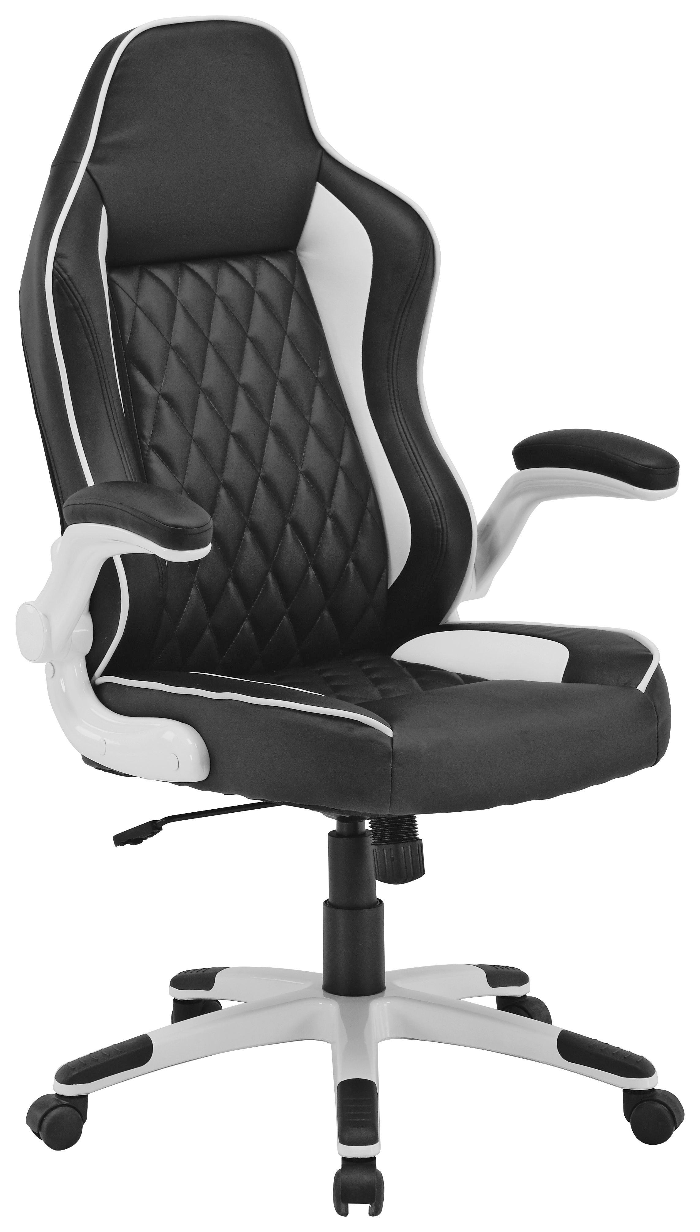 Főnöki Szék Klaus - fekete/fehér, modern, műanyag/textil (71/119-127/66cm)