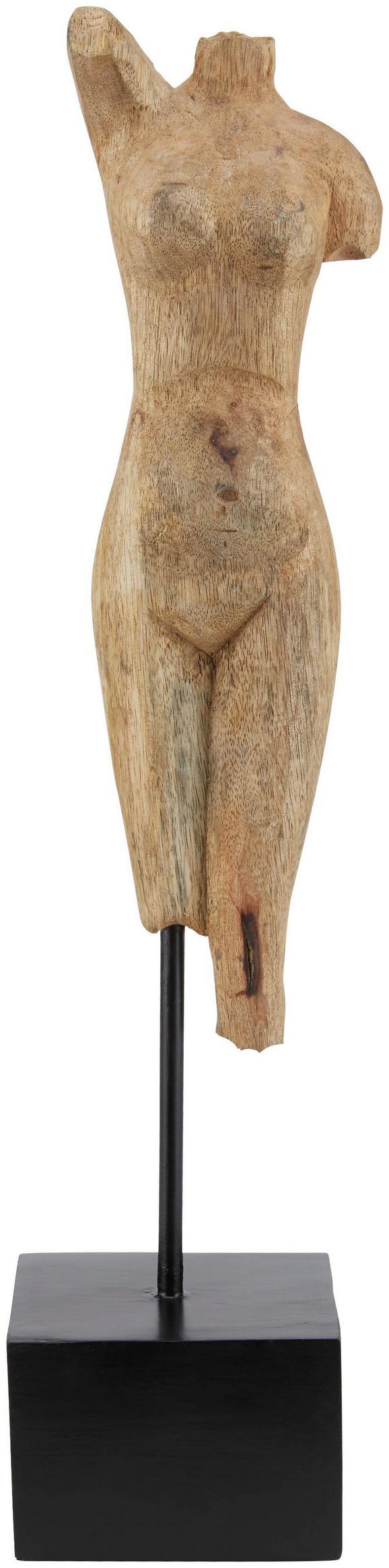 Skulptur Asha in Natur/Schwarz - Schwarz/Naturfarben, ROMANTIK / LANDHAUS, Holz/Metall (10,5/50/9cm) - Mömax modern living