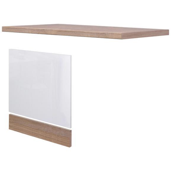 Geschirrspülerblende Weiß Hochglanz/Eiche - Sonoma Eiche, MODERN, Holzwerkstoff (110/60cm) - FlexWell.ai