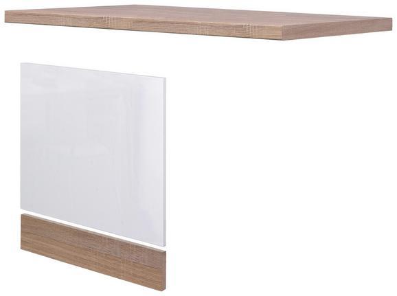 Küchenunterschrank Weiß Hochglanz/Eiche - Eichefarben/Weiß, MODERN, Holzwerkstoff (110/60cm)