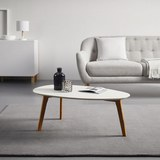 Couchtisch in Weiß/Buchefarben ca.90x49cm 'Twist' - Buchefarben/Weiß, MODERN, Holz/Kunststoff (90/49/34,5cm) - Bessagi Home