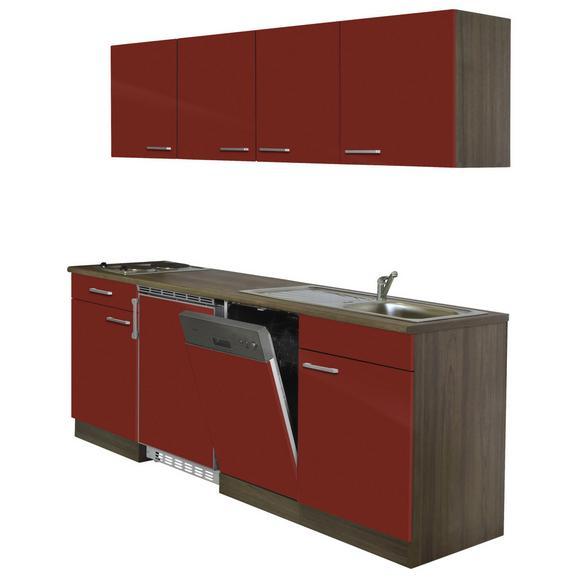 Küchenblock ECONOMY 195 - Eichefarben/Rot, KONVENTIONELL, Holzwerkstoff (195/200/55cm) - Livetastic