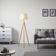 Stehleuchte Larissa II - Naturfarben/Weiß, MODERN, Holz/Textil (151cm) - Modern Living