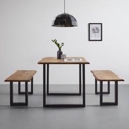 Esstisch aus Akazie Echtholz ca.85x160cm 'Malmo' - Schwarz/Akaziefarben, MODERN, Holz/Metall (85/160/76cm) - Bessagi Home