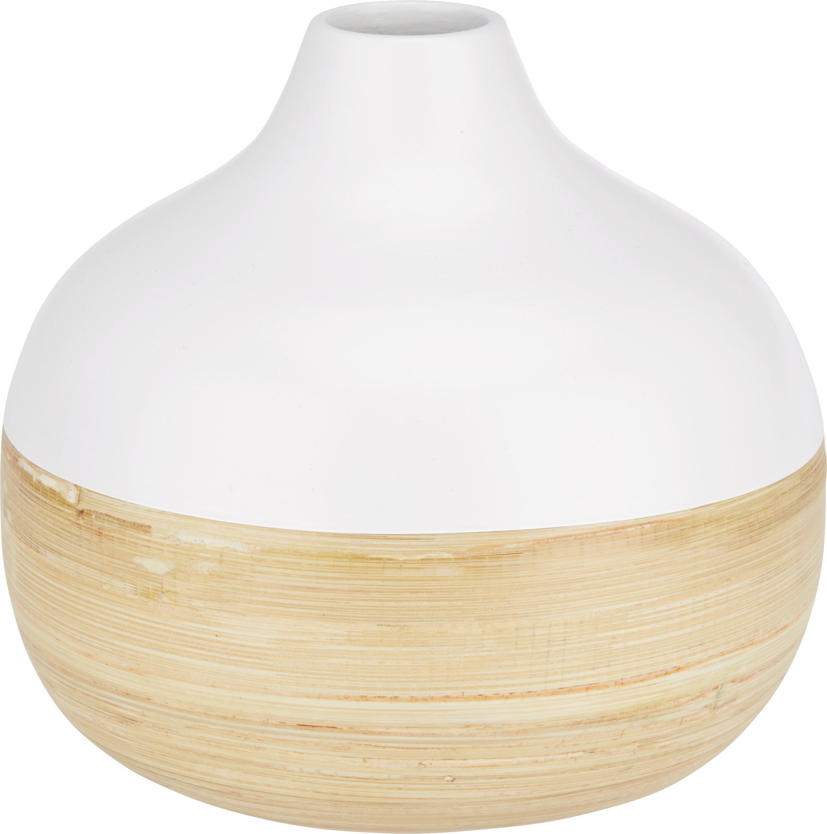 Vase Naturelle in Weiß/Natur - Naturfarben/Weiß, Holz (18/17cm) - MÖMAX modern living