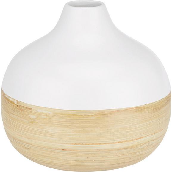 Vase Naturelle Weiß/Natur - Naturfarben/Weiß, Holz (18/17cm) - Mömax modern living