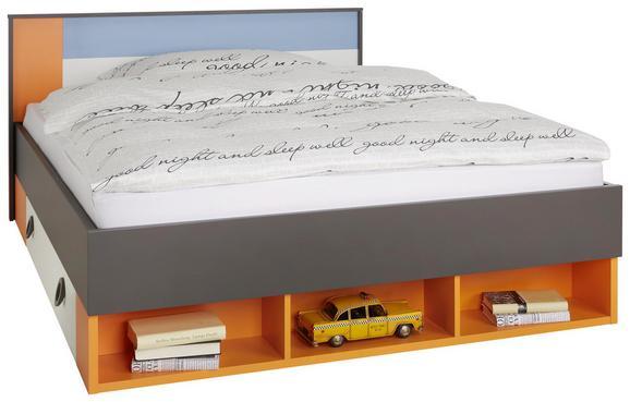 Bett Bunt 140x200cm - Blau/Orange, KONVENTIONELL, Holzwerkstoff/Kunststoff (150/84/208cm) - MODERN LIVING