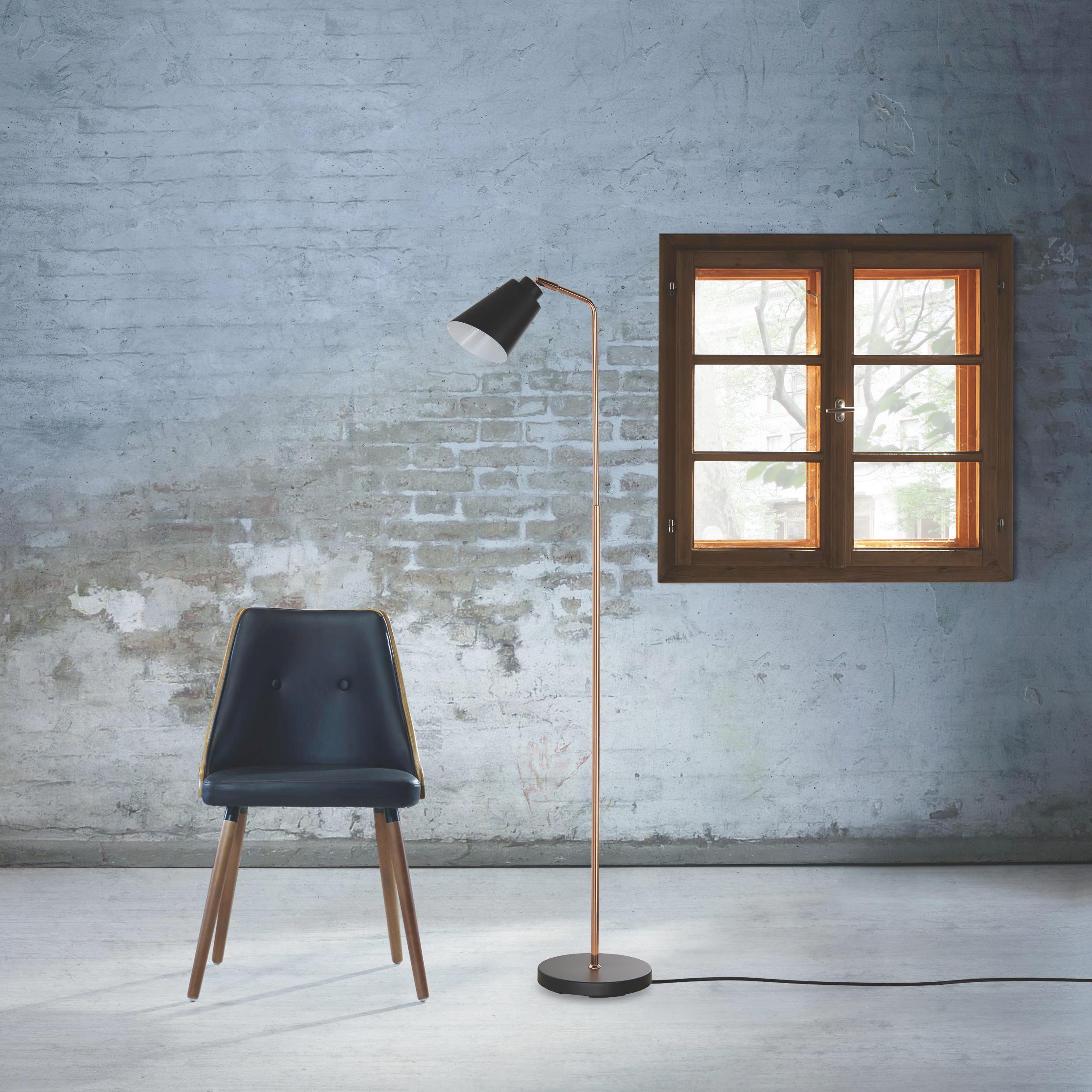 Stehleuchte Swing - Schwarz/Kupferfarben, MODERN, Metall (35/23/137cm) - MÖMAX modern living
