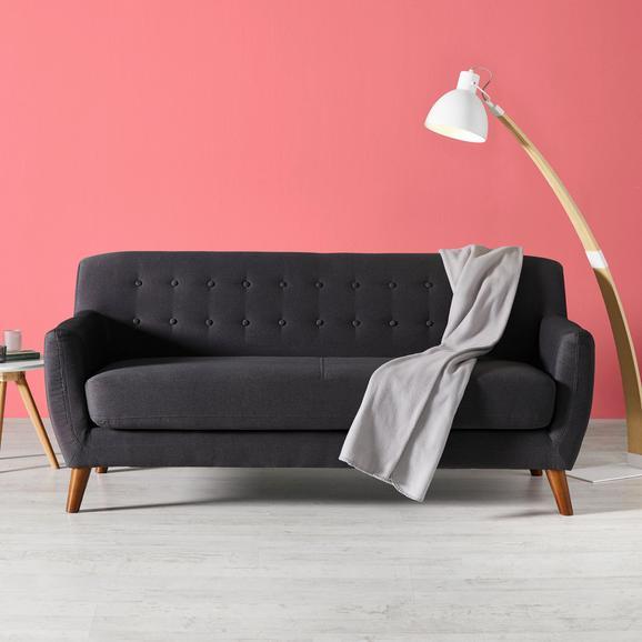 Dreisitzer Sofa Xavier mit Taschenfederkern - Dunkelgrau, Holz/Textil (176/81/76cm) - Mömax modern living