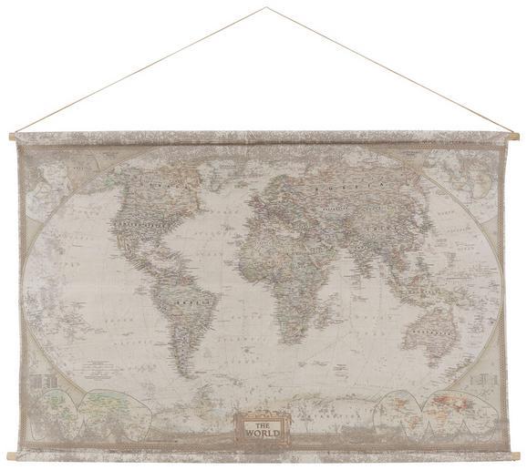 Wanddeko World-map in Natur - Naturfarben, LIFESTYLE, Holz/Textil (154/100/2,5cm) - Mömax modern living