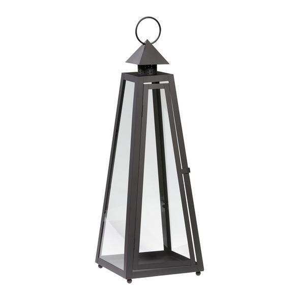 Laterne Philip in Schwarz - Klar/Schwarz, Glas/Metall (26/26/73cm) - MÖMAX modern living