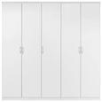 Dulap De Haine Lemgo - alb/culoare aluminiu, Konventionell, lemn (226/212/54cm)