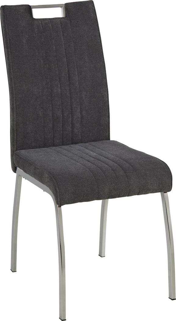 Stuhl in Grau - Chromfarben/Grau, MODERN, Textil/Metall (43/98/59cm) - Modern Living