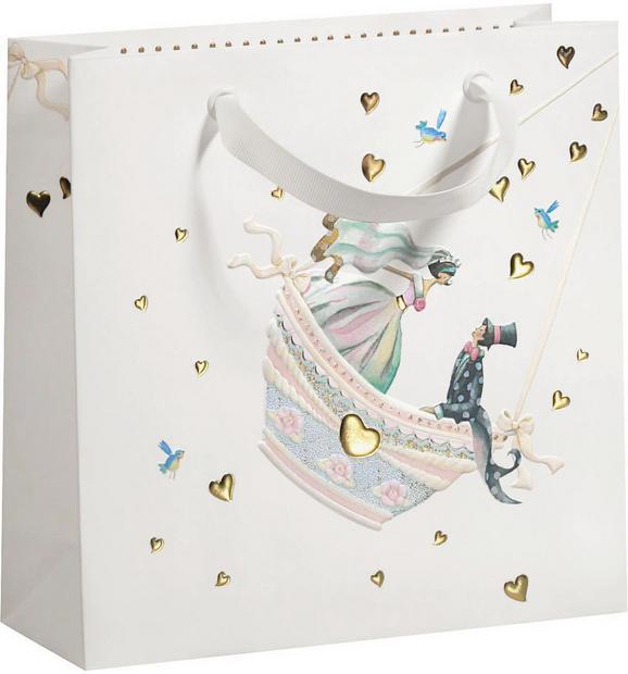 Geschenktasche Hochzeitspaar aus Papier - Hellrosa/Goldfarben, ROMANTIK / LANDHAUS, Papier (22/22/8cm)