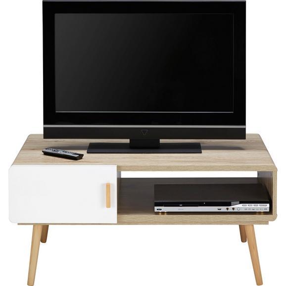 TV-Element in Eichefarben/Weiß 'Claire' - Eichefarben/Weiß, MODERN, Holz (100/46,6/59cm) - Bessagi Home