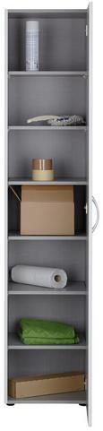 Mehrzweckschrank in Weiß - Alufarben/Weiß, Holzwerkstoff/Kunststoff (40/185/40cm)
