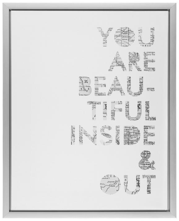 Keilrahmenbild Wording, ca. 40x50cm - Silberfarben/Weiß, Holz/Kunststoff (40/50/2,5cm) - MÖMAX modern living
