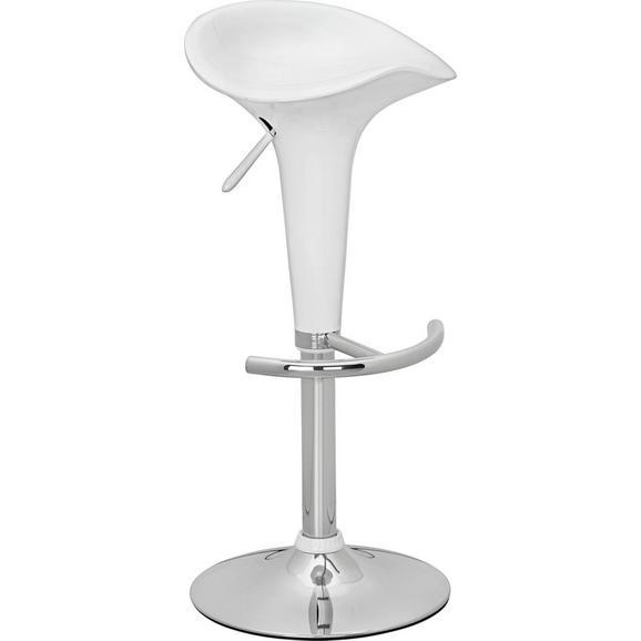 Tresenstuhl in Weiß Hochglanz - Weiß, MODERN, Kunststoff/Metall (38,5/66,5-86,5/38,5cm) - Mömax modern living