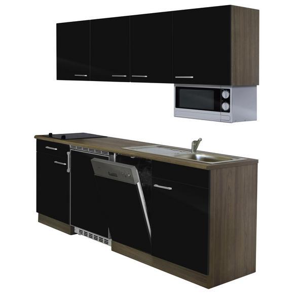 Küchenblock ECONOMY 195 - Eichefarben/Schwarz, KONVENTIONELL, Holzwerkstoff (195/200/55cm) - Livetastic