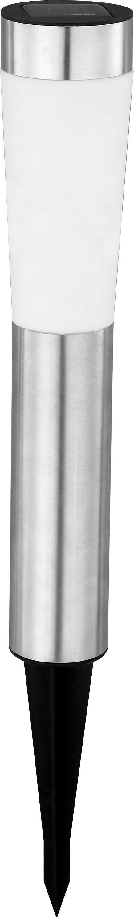 Solarleuchte Twins - Chromfarben/Weiß, Kunststoff/Metall (7,5/56cm) - Mömax modern living