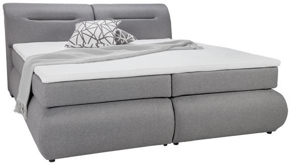 Boxspringbett Grau ca.140x200cm - Schwarz/Grau, Kunststoff/Textil (240/150/100cm) - Premium Living