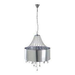 Hängeleuchte max. 40 Watt 'Anna- Lisa' - Chromfarben, MODERN, Kunststoff/Textil (50/125cm) - Bessagi Home