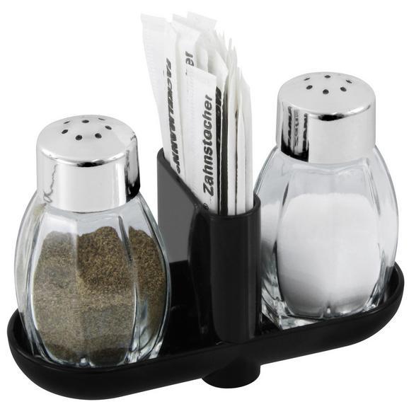 Salz- und Pfefferstreuer SALZ & PFEFFER - Silbereichenfarben, KONVENTIONELL, Glas/Kunststoff (8cm)