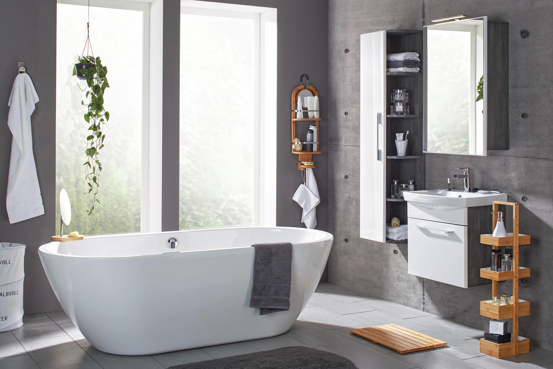 Fürdőszobai Mosdó Blokk Karina Ii - sötétszürke/fehér, modern, faanyagok/kerámia (80/62,5/45cm)