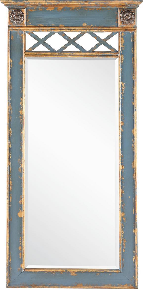 Spiegel London - Blau, Glas/Holz (60,5/120/5,5cm) - Premium Living
