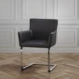 Stuhl Vanessa - Chromfarben/Schwarz, MODERN, Holz/Textil (62,5/87/56cm) - Modern Living