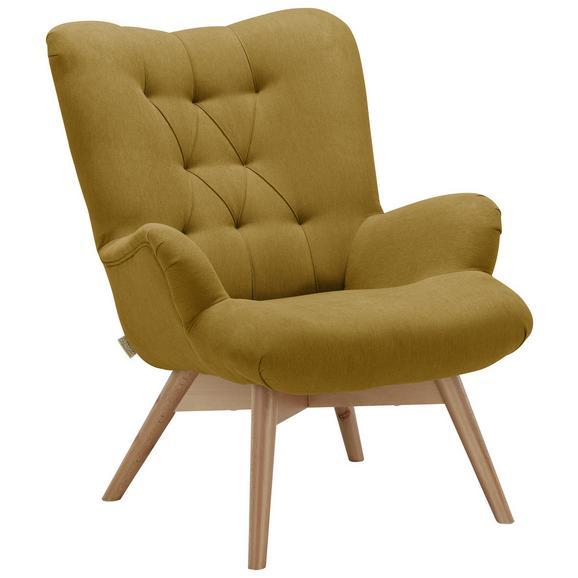 Sessel in Gelb - Gelb/Naturfarben, Holz/Textil (80/94/96cm)