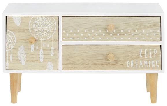 Dekokommode in Weiß/Natur - Naturfarben/Weiß, ROMANTIK / LANDHAUS, Holzwerkstoff (30/17,5/13,5cm) - Mömax modern living
