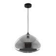 Hängeleuchte max. 60 Watt Schirm Rauchglas 'Santiago' - Schwarz, MODERN, Glas/Metall (30/175cm) - Bessagi Home