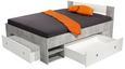 Postelja Azzuro 140 - bela/svetlo siva, Moderno, leseni material (204/75/145cm)