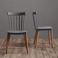 Stuhl Celine - Buchefarben/Grau, MODERN, Holz/Kunststoff (43,5/82/51,5cm) - MODERN LIVING