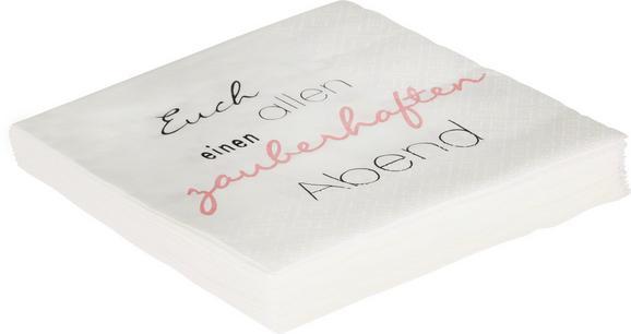 Serviette Zauberhafter Abend in Weiß - Hellrosa/Schwarz, Papier (33/33cm)