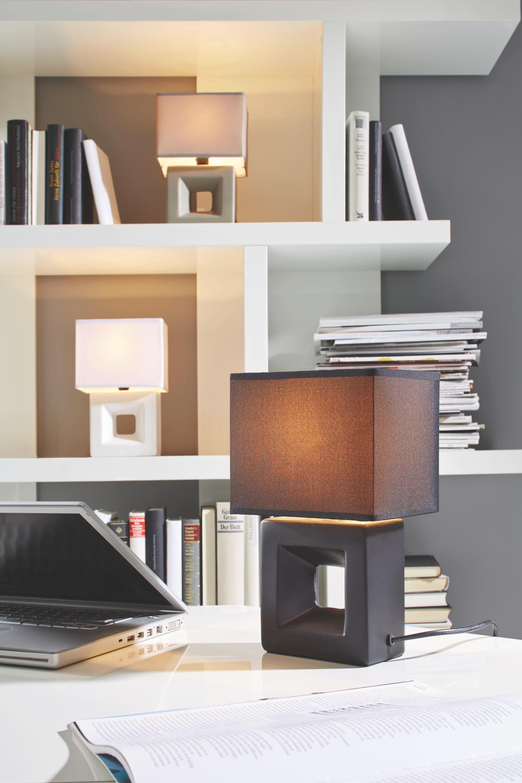 Asztali Lámpa Quadro - fekete, textil/kerámia (17/12/28cm) - MÖMAX modern living
