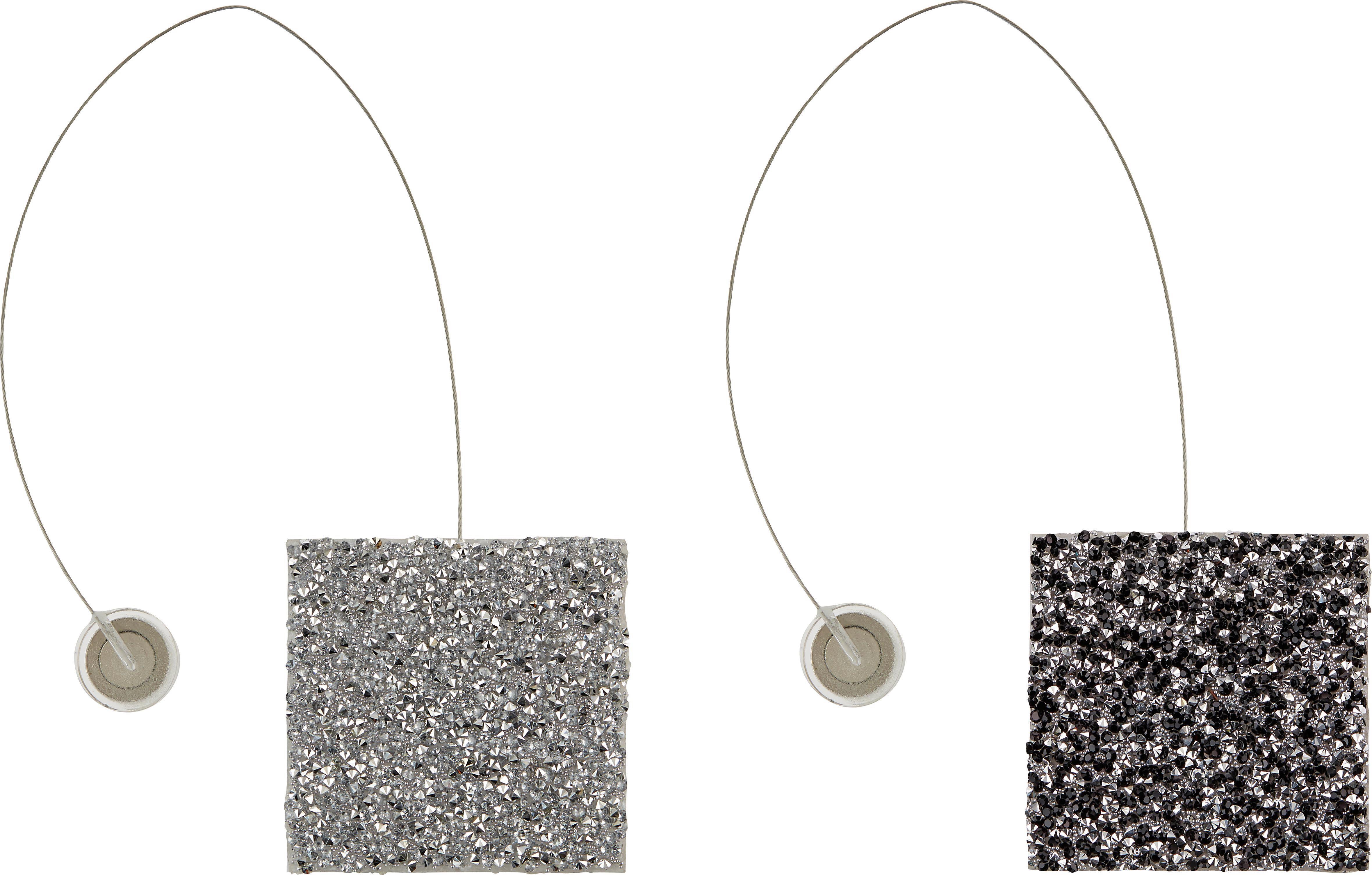 Raffhalter Strass mit Magnetverschluss - Silberfarben/Schwarz, LIFESTYLE, Kunststoff (6cm) - MÖMAX modern living