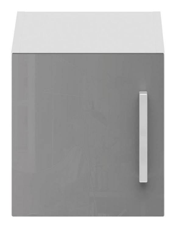 Aufsatzschrank Grau Hochglanz/Weiß - Edelstahlfarben/Weiß, MODERN, Holzwerkstoff/Metall (30/32/57cm) - MODERN LIVING