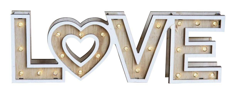 LED-Dekoleuchte Love, max. 0,06 Watt - ROMANTIK / LANDHAUS, Holz/Kunststoff (34/3,2/9cm)