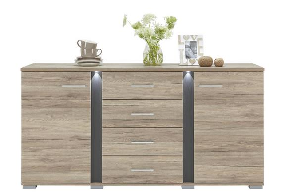 Sideboard aus Eiche - Silberfarben, MODERN, Kunststoff/Metall (170/86/42cm) - PREMIUM LIVING
