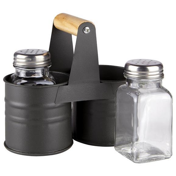 Salz- und Pfefferstreuer Indy aus Glas - Klar/Schwarz, MODERN, Glas/Metall (13/6,5/13cm)