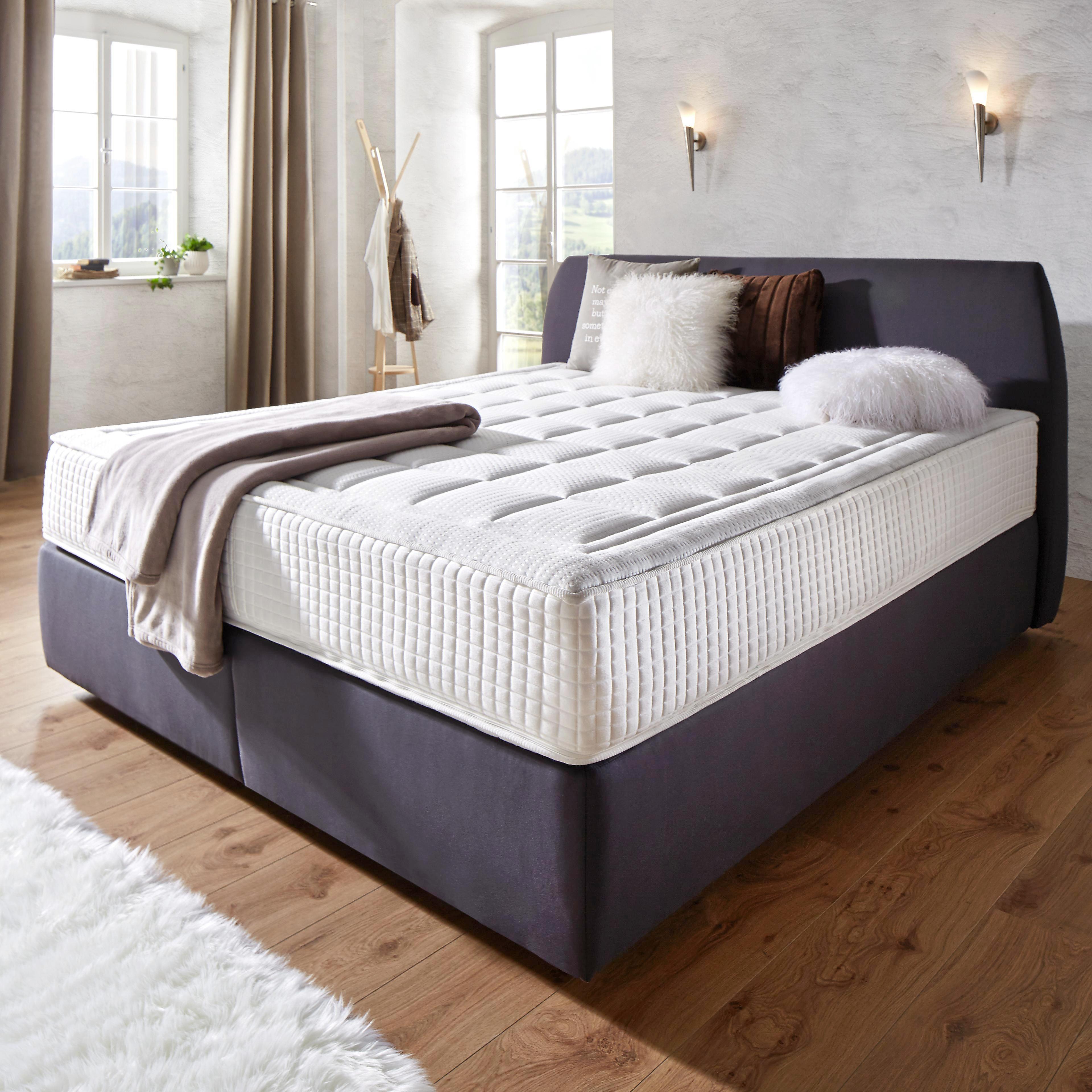 Kontinentalbett in Anthrazit ca. 180x200cm - Anthrazit, Holzwerkstoff/Textil (208/190/107cm) - PREMIUM LIVING