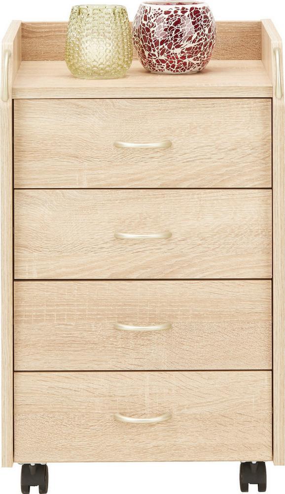 Rollcontainer in Sonoma Eiche - Silberfarben/Sonoma Eiche, Holzwerkstoff/Kunststoff (40/65/36cm) - Mömax modern living
