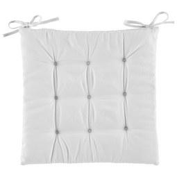 Sitzkissen Lola in Weiß ca. 40x40cm - Naturfarben, Textil (40/40/2cm) - Based