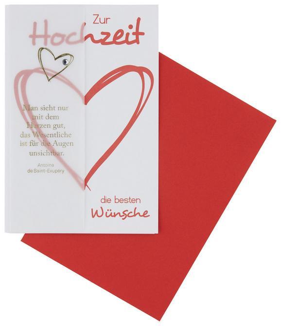 Billett Rot/Weiß - Rot/Weiß, ROMANTIK / LANDHAUS, Papier (12,5/18/0,2cm)