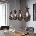 Pendelleuchte Luciana 4-flammig - Messingfarben/Grau, MODERN, Glas (80/13.5/129cm) - Modern Living