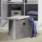 Aufbewahrungsbox Rikka mit Deckel - Grau, MODERN, Textil (33/29/30cm) - Mömax modern living